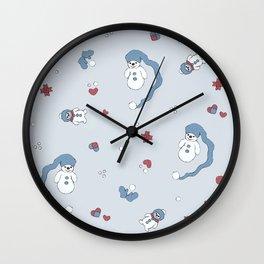 Snow boy pattern Wall Clock
