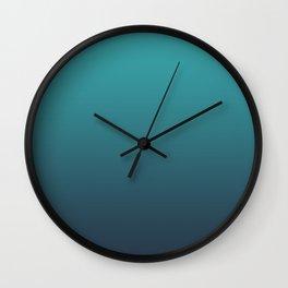 Aqua Teal Turquoise on Navy Blue Soft Gradient Blend - Aquarium SW 6767 Wall Clock