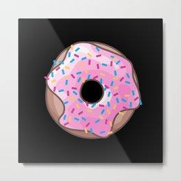 Pink Donut on Black Metal Print