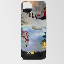 Christmas, snowman with Santa Claus iPhone Card Case