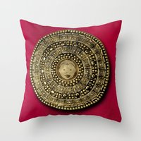 gladiator Throw Pillows featuring Roman Gladiator Shield - Trick or Treat bag by Joel M Young