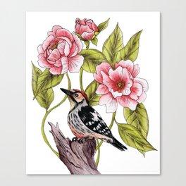 Woodpecker & Peonies - Floral/Bird Design Canvas Print
