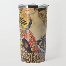 Gustav Klimt Lady With Fan  Art Nouveau Painting Travel Mug