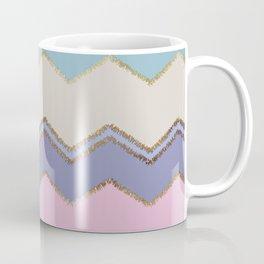 Multi Chevron and Brushed Gold Coffee Mug