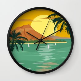 Tropical island paradise sunset beach and palm trees Wall Clock