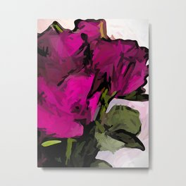 Magenta Roses with Green Stems and Leaves Metal Print
