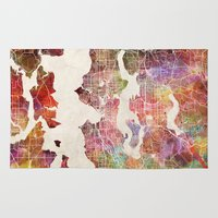 seattle Area & Throw Rugs featuring Seattle by MapMapMaps.Watercolors