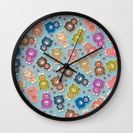 Colorful Teddy Bears Pattern Wall Clock