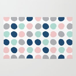 Zanthe - abstract trendy dots polka dots painted dot pattern blue pink pastel pantone color of the  Rug