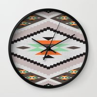 navajo Wall Clocks featuring Navajo by Priscila Peress