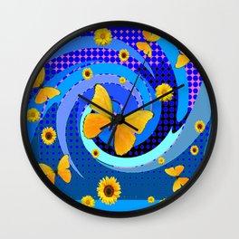 BLUE MATING SEASON YELLOW BUTTERFLIES Wall Clock