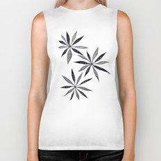 Elegant Thin Flowers With Dots And Swirls Biker Tank