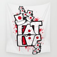 fat Wall Tapestries featuring Fat cap by manuvila