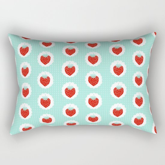 Strawberry fruit tropical mint nature food fresh pattern design geometric berries children farming  Rectangular Pillow