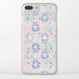 Lotus flower - powder pink woodblock print style pattern Clear iPhone Case