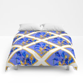 PATTERNED MODERN ABSTRACT BLUE & GOLD CALLA LILIES Comforters