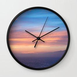 Blue Dreams Sunset - Ocean Sunset, Landscape, Scenery, Beautiful Orange Yellow Wall Clock