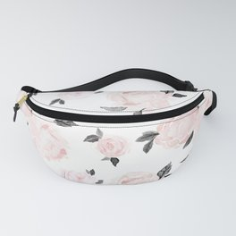 Vintage Blush Floral BW -medium Fanny Pack