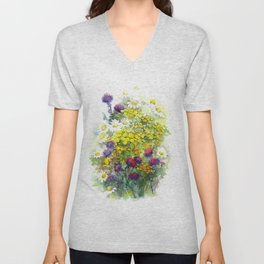 Watercolor meadow flowers Unisex V-Neck