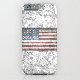 Winter Hybrid Patriotic Flag Camo iPhone Case