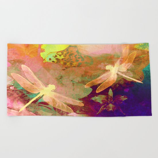 Dragonflies and Orchids QW Beach Towel