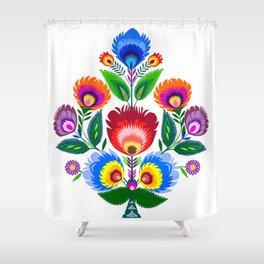 folk flowers ornament  Shower Curtain