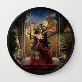 XI. Justice Tarot Card Illustration (Color) Wall Clock
