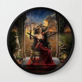 XI. Justice Tarot Card Illustration (Color) Wall Clock