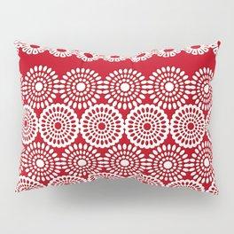 Cute Red Crochet Lace Flowers  Pillow Sham