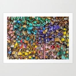 Pastel colored love locks in Paris | Noriko Aizawa Buckles Art Print