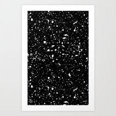 Retro Speckle Print - Black Art Print