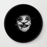 jack nicholson Wall Clocks featuring Jack Nicholson as The Joker - Pencil Sketch Style by ElvisTR