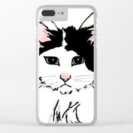Sadface Cat Sketch Clear iPhone Case