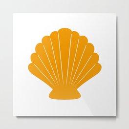 Seashell (Orange & White) Metal Print