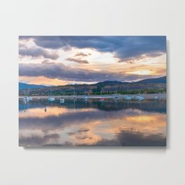 Calm Waters // Lake and Boats at Sunset Beautiful Landscape Photograph Scenic Mountain View Metal Print