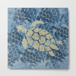 Honu Sea Turtle Hawaiian Tapa  Metal Print