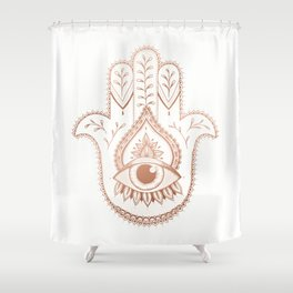 Hamsa Hand - Rosé Gold Shower Curtain