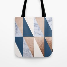 Copper Navy Marble Tote Bag