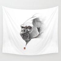 gorilla Wall Tapestries featuring Gorilla by Khasis Lieb