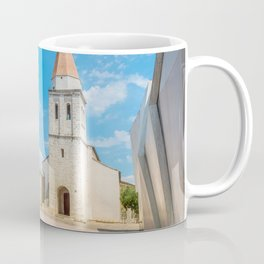 Square of the Glagolitic Monks with Church of St Francis, Town of Krk on the island of Krk, Croatia Coffee Mug