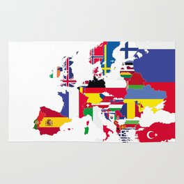 Europe flags white Rug
