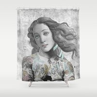 sia Shower Curtains featuring VENUS ILLUSTRATED by Julia Lillard Art