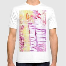 linear White MEDIUM Mens Fitted Tee