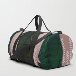 Powder pink and green feathers Duffle Bag