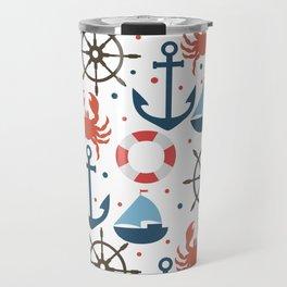 Sea white pattern Travel Mug
