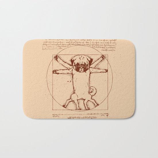 Vitruvian pug Bath Mat