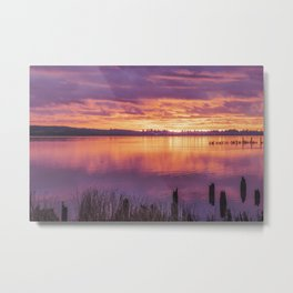 Fire on the Water, Purple and gold Sunset Metal Print