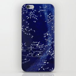 French March Star Map in Deep Navy & Black, Astronomy, Constellation, Celestial iPhone Skin
