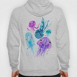 Jelly Fish Fields - Ocean Watercolor Hoody