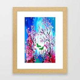 Butterflies and Cherry Blossom Framed Art Print
